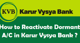 How to Reactivate Dormant Account in Karur Vysya Bank