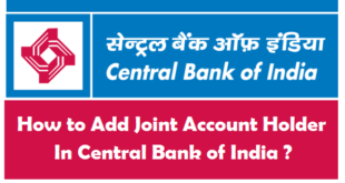 How to Add Joint Account Holder in Central Bank of India