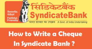 How to Write a Cheque in Syndicate Bank